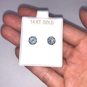 14K Solid White Gold CZ 7mm Earrings